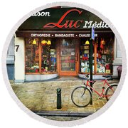 Round Beach Towel featuring the photograph Maison Luc Bicycle by Craig J Satterlee