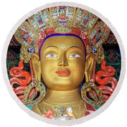 Round Beach Towel featuring the photograph Maitreya Buddha Statue by Alexey Stiop