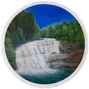 Majestic Bald River Falls Of Appalachia II Round Beach Towel