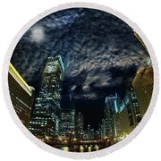 Majestic Chicago - Windy City Riverfront At Night Round Beach Towel