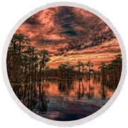 Majestic Cypress Paradise Sunset Round Beach Towel