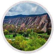 Majestic Foothills Round Beach Towel by Kristal Kraft