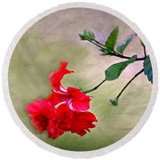 Majestic Hibiscus Bloom Round Beach Towel