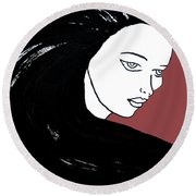 Majestic Lady J0715g Marsala Red Pastel Painting 18-1438 964648 964f4c Round Beach Towel