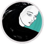 Majestic Lady J0715k Turquoise Green Pastel Painting 15-5519 41b6ab Round Beach Towel