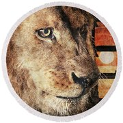Majestic Lion In Captivity Round Beach Towel