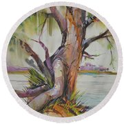 Majestic Live Oak  Round Beach Towel