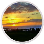 Majestic Maui Sunset Round Beach Towel