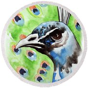 Majestic - Peacock Bird Art Round Beach Towel