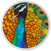 Majestic Peacock Round Beach Towel