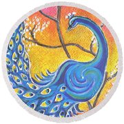 Majestic Peacock Colorful Textured Art Round Beach Towel