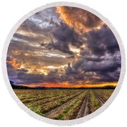 Round Beach Towel featuring the photograph Majestic Peanut Harvest Sunset Art by Reid Callaway