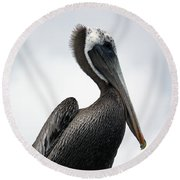 Round Beach Towel featuring the photograph Majestic Pelican Photography A10317r by Mas Art Studio