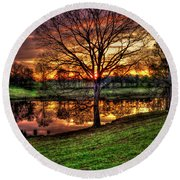 Round Beach Towel featuring the photograph Majestic Sunrise Reflections by Reid Callaway