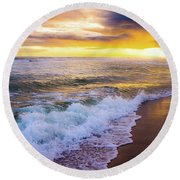 Round Beach Towel featuring the photograph Majestic Sunset In Paradise by Shelby Young
