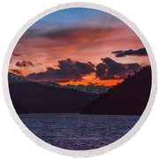 Majestic Sunset In Summit Cove Round Beach Towel