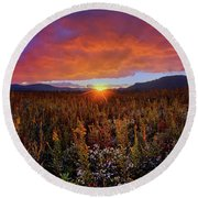 Majestic Sunset Over Cades Cove In Smoky Mountains National Park Round Beach Towel