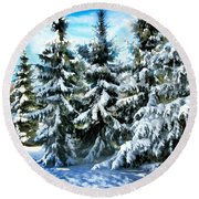 Majestic Winter In New England  Round Beach Towel by Judy Palkimas