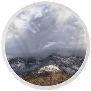 Major Storms A Brewing Round Beach Towel