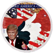 Round Beach Towel featuring the digital art Make America Great Again - President Donald Trump by Glenn McCarthy Art and Photography