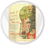 Round Beach Towel featuring the digital art Make It Merry...make It Mojud by Reinvintaged