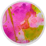 Round Beach Towel featuring the painting Make Your Own Ending by Tracy Bonin