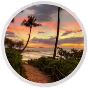 Makena Sunset Path Round Beach Towel