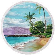 Round Beach Towel featuring the painting Makila Beach by Darice Machel McGuire