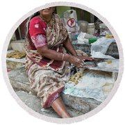 Making Chapatti Round Beach Towel by Marion Galt