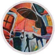 Round Beach Towel featuring the painting Making Friends Under The Umbrella by Susan Stone