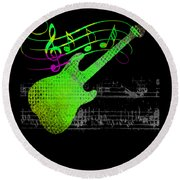 Round Beach Towel featuring the digital art Making Music by Guitar Wacky