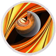 Round Beach Towel featuring the digital art Making Orange Planets by Angelina Vick