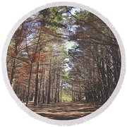 Round Beach Towel featuring the photograph Making Our Way Through by Laurie Search