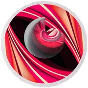 Round Beach Towel featuring the digital art Making Pink Planets by Angelina Vick
