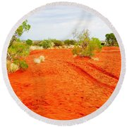 Making Tracks In The Dunes - Red Centre Australia Round Beach Towel
