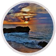Makua Sunset Round Beach Towel
