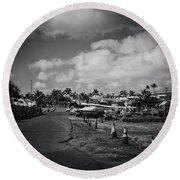 Round Beach Towel featuring the photograph Mala Wharf Ala Moana Street Lahaina Maui Hawaii by Sharon Mau