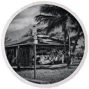Round Beach Towel featuring the photograph Mala Wharf Showers Lahaina Maui Hawaii by Sharon Mau