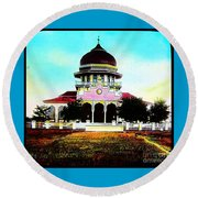 Malay Mosque Singapore Circa 1910 Round Beach Towel