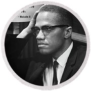 Malcolm X On Criticism Round Beach Towel by Daniel Hagerman
