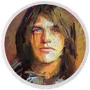 Malcolm Young Acdc Tribute Portrait Round Beach Towel