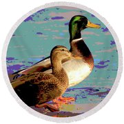 Round Beach Towel featuring the mixed media Male And Femal Mallard by Charles Shoup