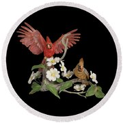 Male And Female Cardinals  Round Beach Towel