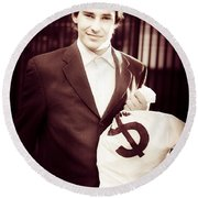 Male Banker Holding Dollar Sign Money Bags Round Beach Towel