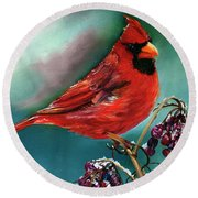 Male Cardinal And Snowy Cherries Round Beach Towel