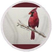 Male Cardinal In Winter Round Beach Towel