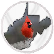 Male Cardinal One Of The Most Recognizable Birds Round Beach Towel