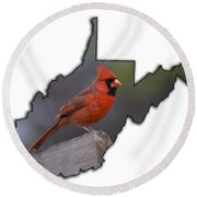 Male Cardinal Perch  Round Beach Towel