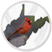 Male Cardinal Perched On Rail Round Beach Towel