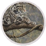 Male Clouded Leopard Round Beach Towel